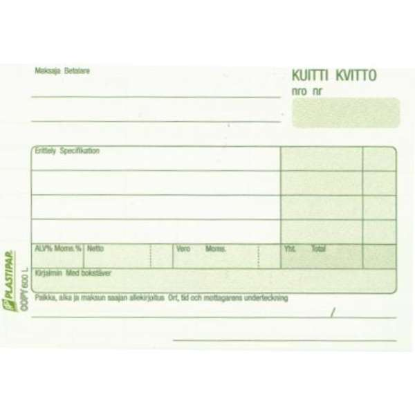 Kuitti/Kvitto A6 Copy 600L